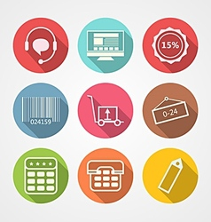 Flat icons for internet retail service vector image