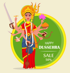 Happy dussehra for sale shopping maa durga on vector
