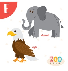 Letter E Cute animals Funny cartoon animals in vector image