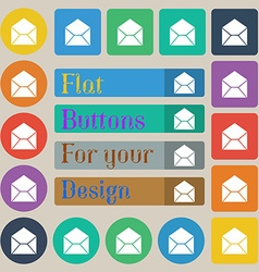 Mail envelope icon sign Set of twenty colored flat vector image