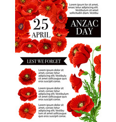 anzac day lest we forget holiday poster vector image