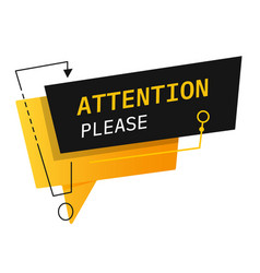 Attention please banner or sign caution or danger vector