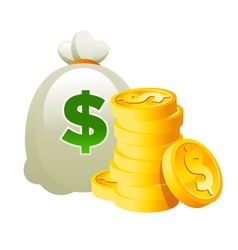 Bag and Dollar Gold Coins vector