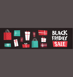 black friday sale text over different gift boxes vector image