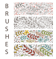 Botanic floral seamless brush with leaf flowers vector