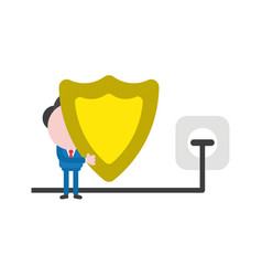 businessman holding guard shield with plug vector image