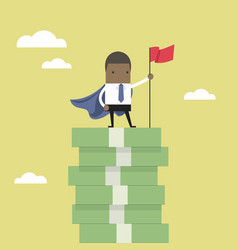 Businessman standing on money stairs vector