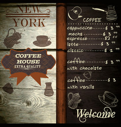 Cafe or coffee house template on wooden texture vector