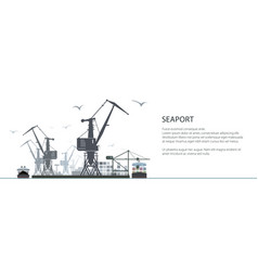 cargo sea port banner vector image