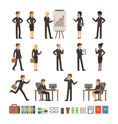 Characters design set of business people man and vector