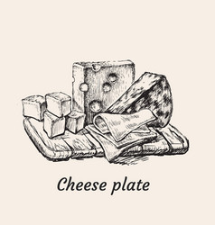 Cheese plate hand drawing vector