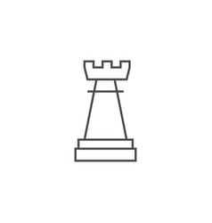 Chess rook thin line icon vector