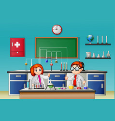 childrens doing experiment in the lab vector image