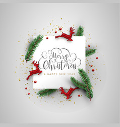 Christmas deer and pine tree decoration card vector