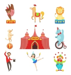 Circus Performance Objects And Characters Set vector image