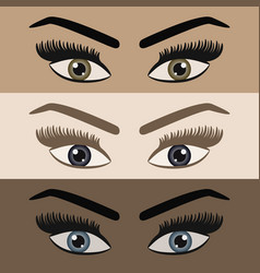 Close up of beautiful women pair of eyes looking vector