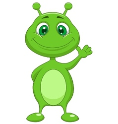 Cute green alien cartoon vector image
