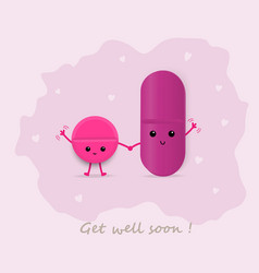 Cute magenta pills waving get well soon card vector