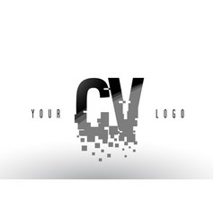 cv c v pixel letter logo with digital shattered vector image