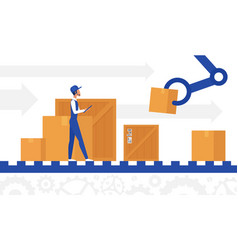 delivery automation control worker working in vector image