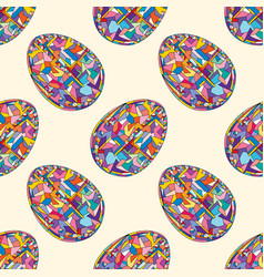 easter eggs seamless pattern hand drawn abstract vector image