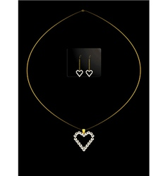 Elegant heart necklace set 1 vector image