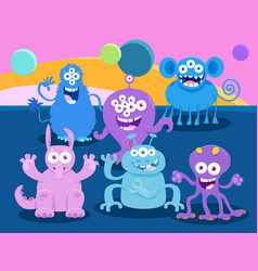 fantasy monster characters cartoon group vector image
