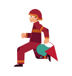 fireman in red protective uniform and helmet runs vector image