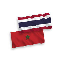 Flags morocco and thailand on a white vector
