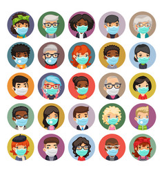 flat cartoon avatars people in protective vector image