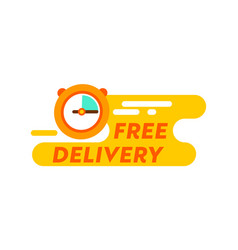 free delivery logo with clock isolated on white vector image