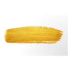Gold color paint brush banner acrylic golden vector