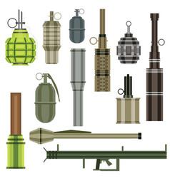 Grenade set military weapon launcher vector