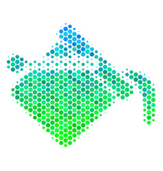 halftone blue-green paint bucket icon vector image