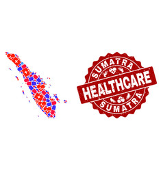 Healthcare collage of mosaic map of sumatra island vector