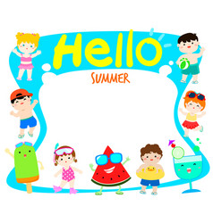 hello summer multicultural cute kids and fruit vector image