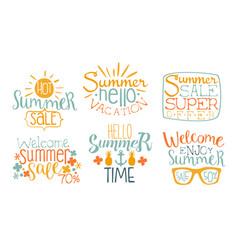 hot summer sale labels set super offer hello vector image