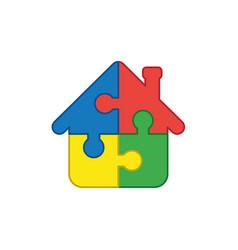 Icon concept house shape four puzzle pieces vector