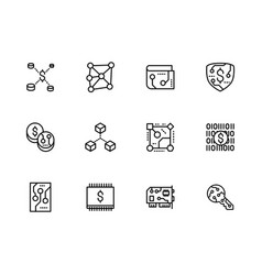 icon set bitcoin block chain mining vector image