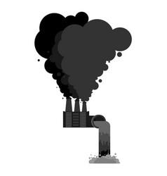 Industrial landscape plant poisonous emissions vector