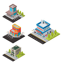 isometric buildings isolated vector image