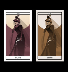 Major arcana tarot cards death woman dressed in vector