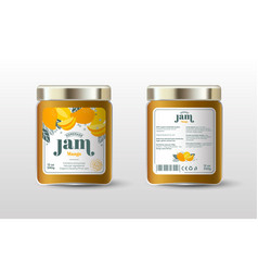 Mango exotic fruit jam label jar packaging vector