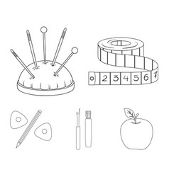 measuring tape needles crayons and pencilsewing vector image