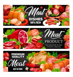 Meat products sausages and vegetables vector
