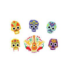 mexican sugar skulls set day dead mexican vector image