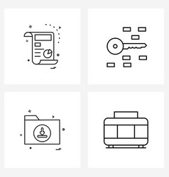 Modern line 4 simple line icons doc files vector