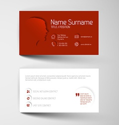 Modern red business card template with flat user vector