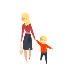 Mom and her little son walking holding hands back vector