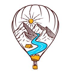 Nature hot air balloon vector